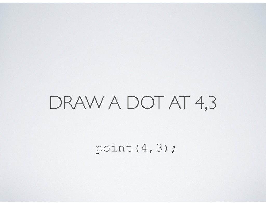 DRAW A DOT AT 4,3 point(4,3);