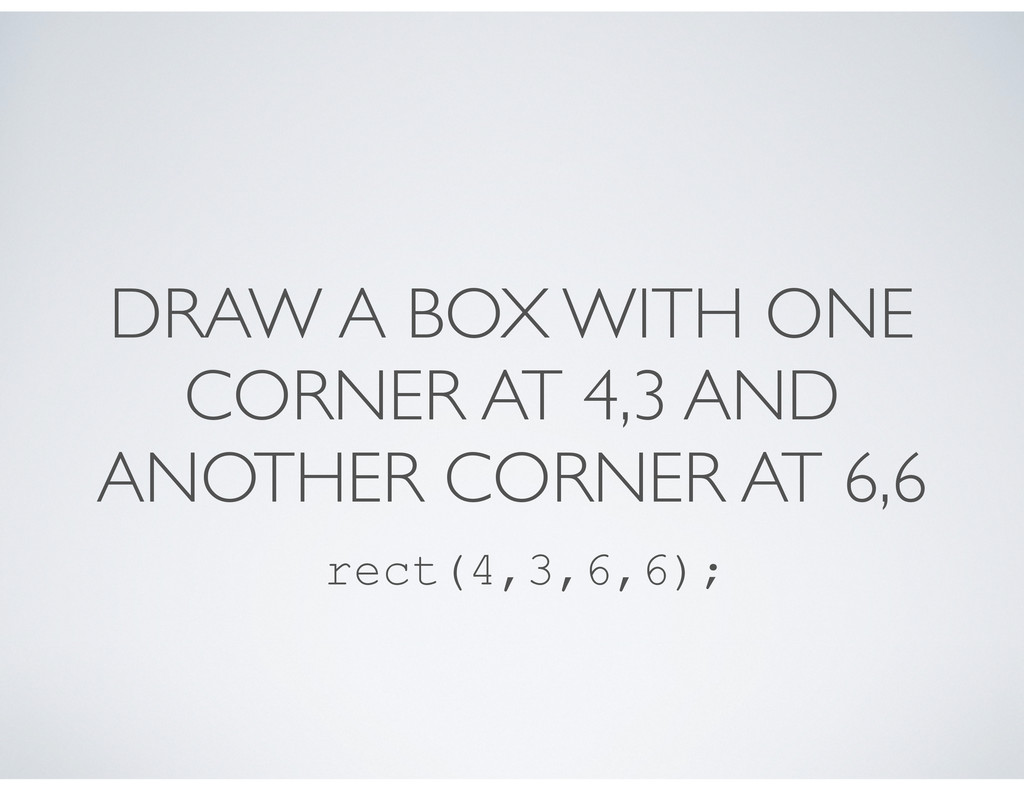 DRAW A BOX WITH ONE CORNER AT 4,3 AND ANOTHER C...
