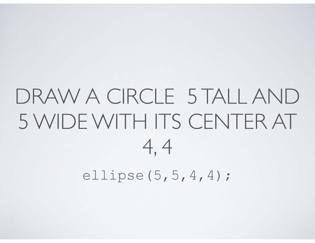 DRAW A CIRCLE 5 TALL AND 5 WIDE WITH ITS CENTER...
