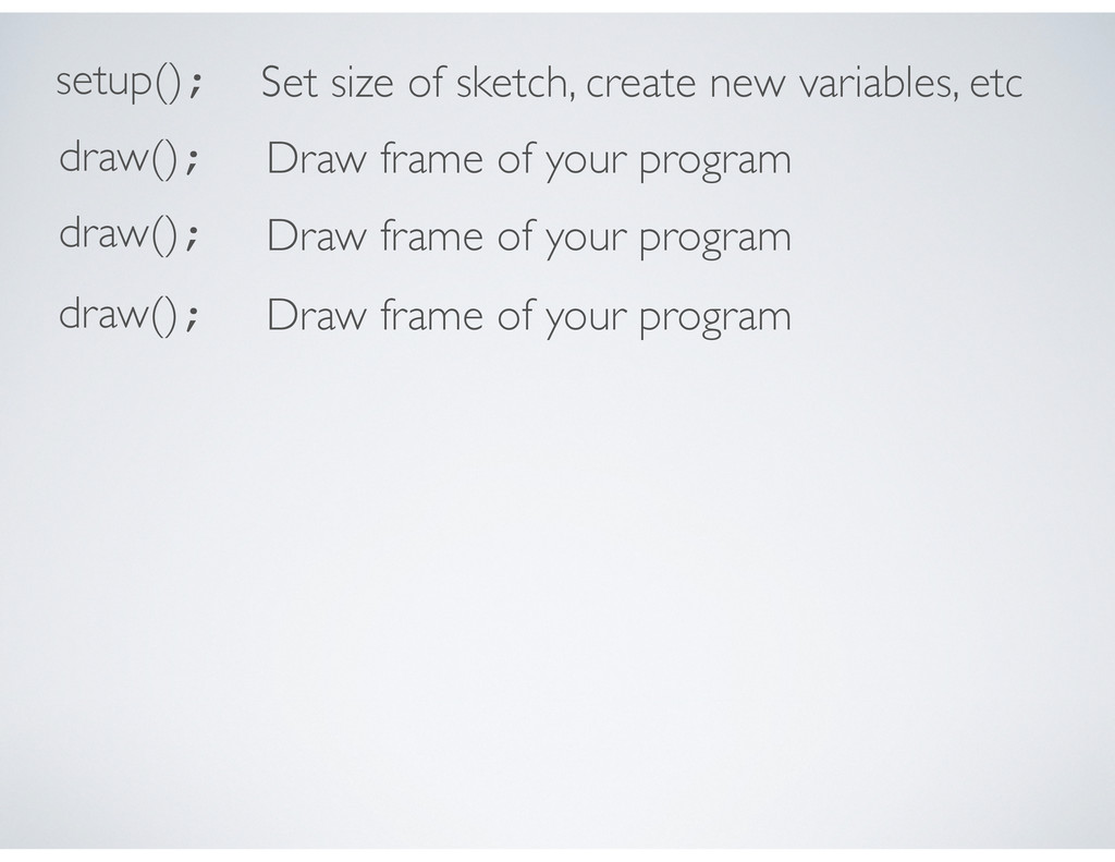 setup(); Set size of sketch, create new variabl...