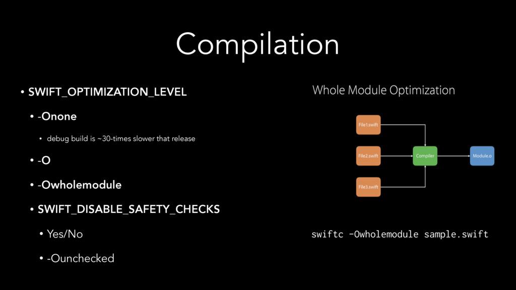 Compilation • SWIFT_OPTIMIZATION_LEVEL • -Onone...