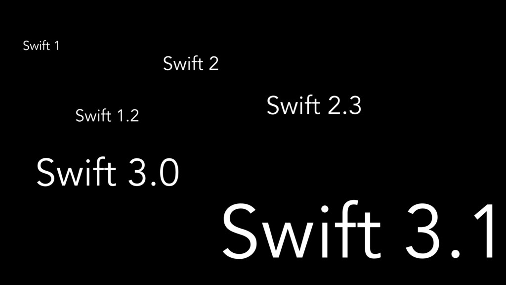 Swift 1 Swift 1.2 Swift 2 Swift 2.3 Swift 3.0 S...