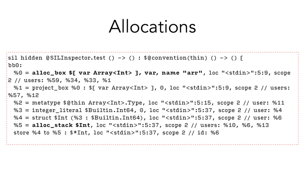 Allocations sil hidden @SILInspector.test () ->...