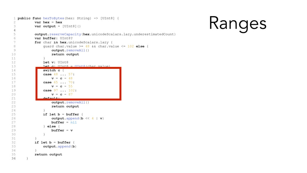 1 public func hexToBytes(hex: String) -> [UInt8...