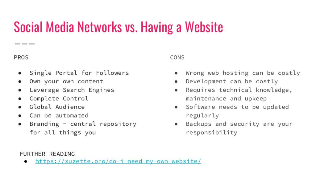 Social Media Networks vs. Having a Website PROS...