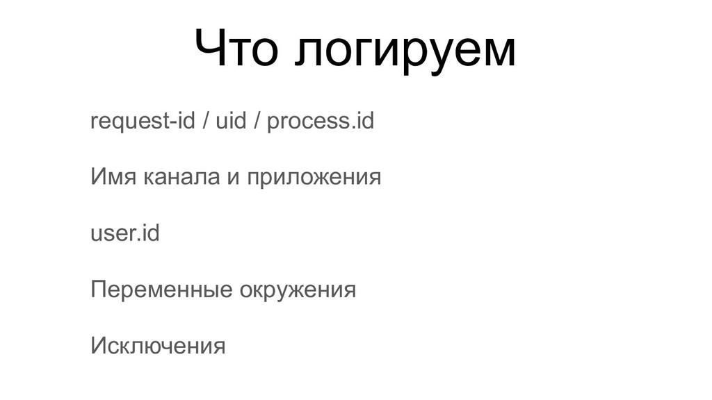 Что логируем request-id / uid / process.id Имя ...