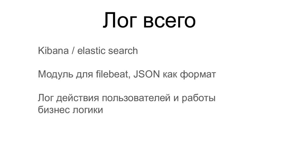 Лог всего Kibana / elastic search Модуль для fi...