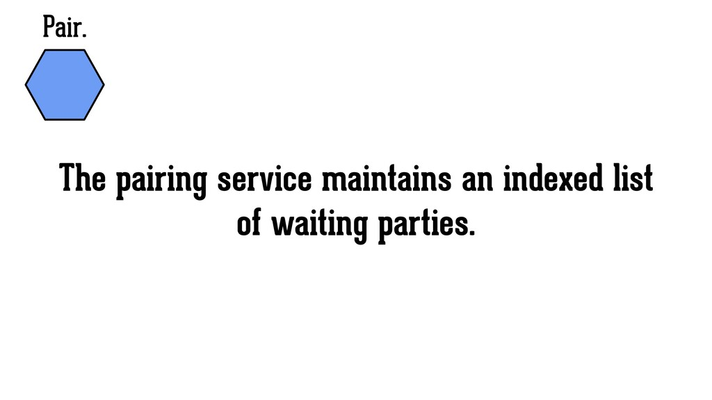 Pair. The pairing service maintains an indexed ...