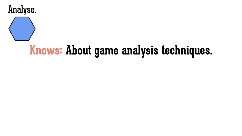 Knows: About game analysis techniques. Analyse.