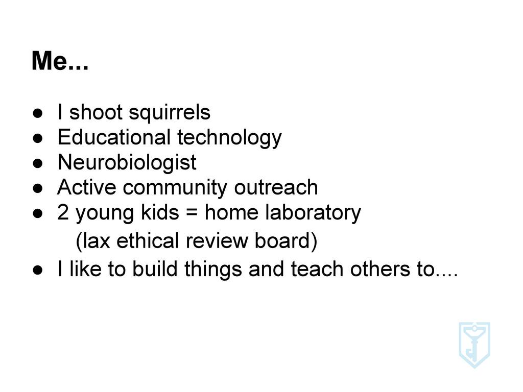 Me... ● I shoot squirrels ● Educational technol...