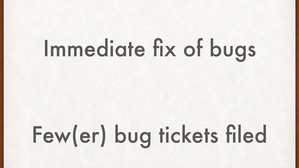 Immediate fix of bugs Few(er) bug tickets filed