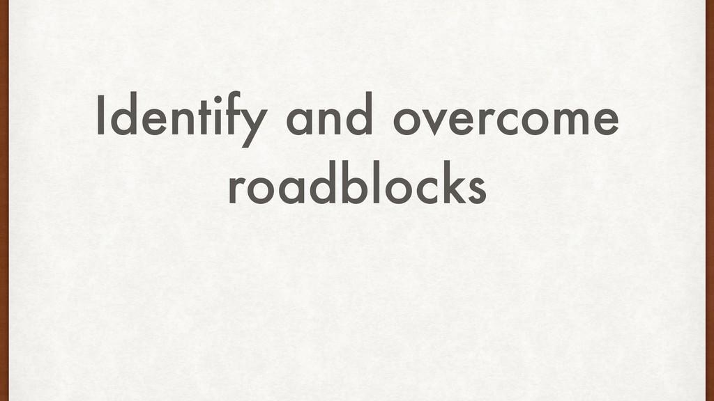 Identify and overcome roadblocks
