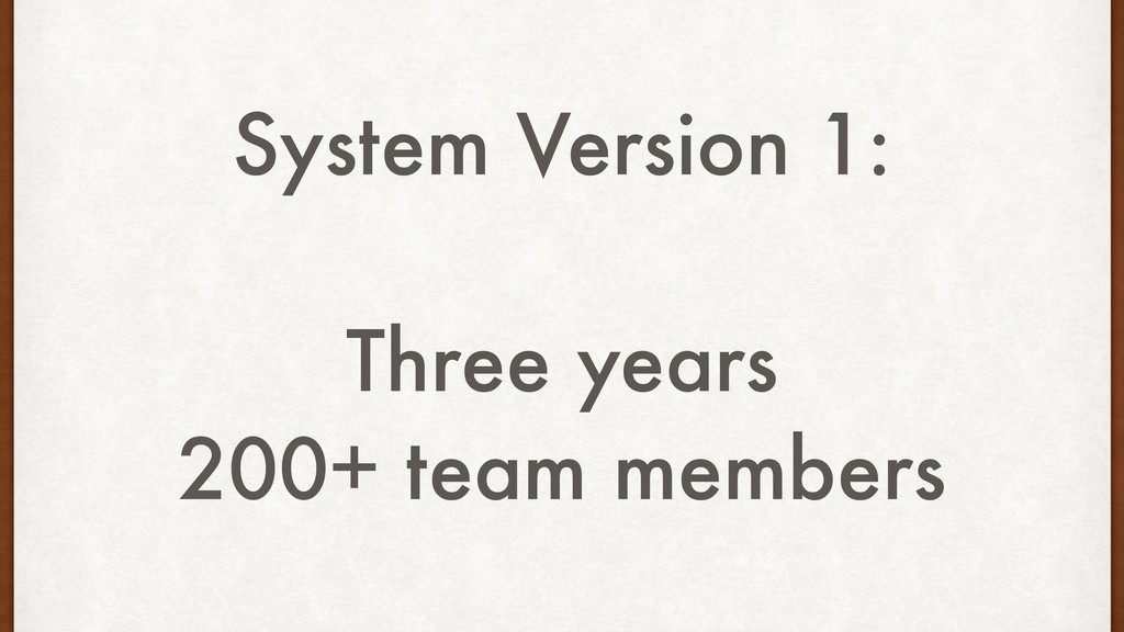 System Version 1: Three years 200+ team members
