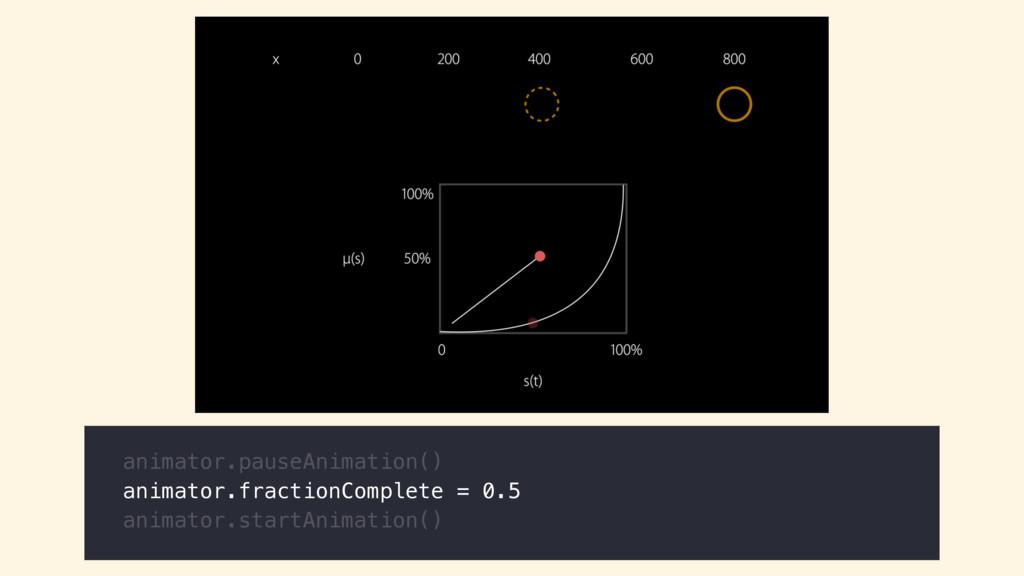 animator.pauseAnimation() animator.fractionComp...