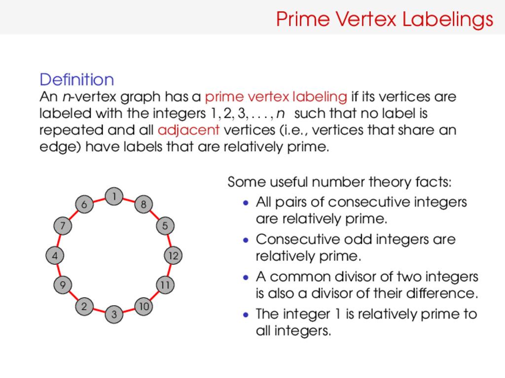Prime Vertex Labelings Definition An n-vertex gr...