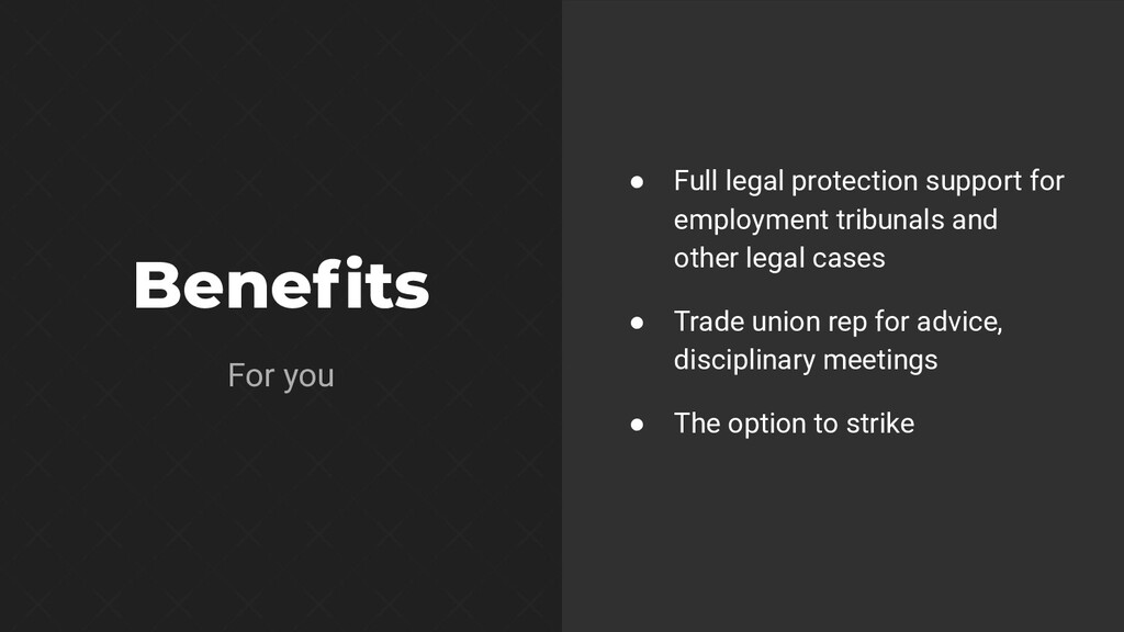 Benefits ● Full legal protection support for emp...