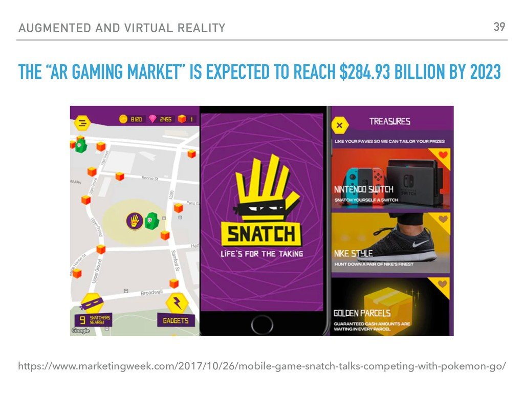 """AUGMENTED AND VIRTUAL REALITY THE """"AR GAMING MA..."""