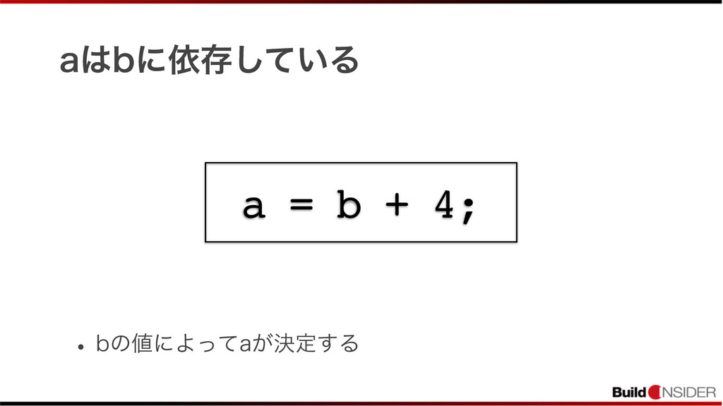 BCʹґଘ͍ͯ͠Δ w CͷʹΑͬͯB͕ܾఆ͢Δ a = b + 4;