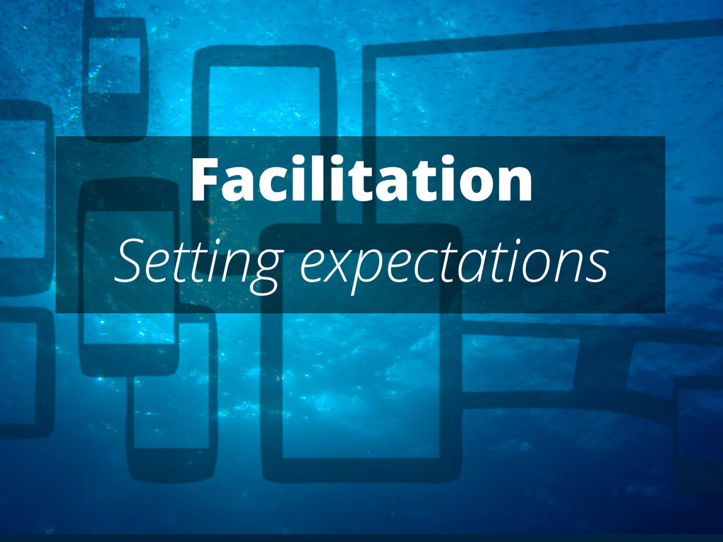 Facilitation Setting expectations