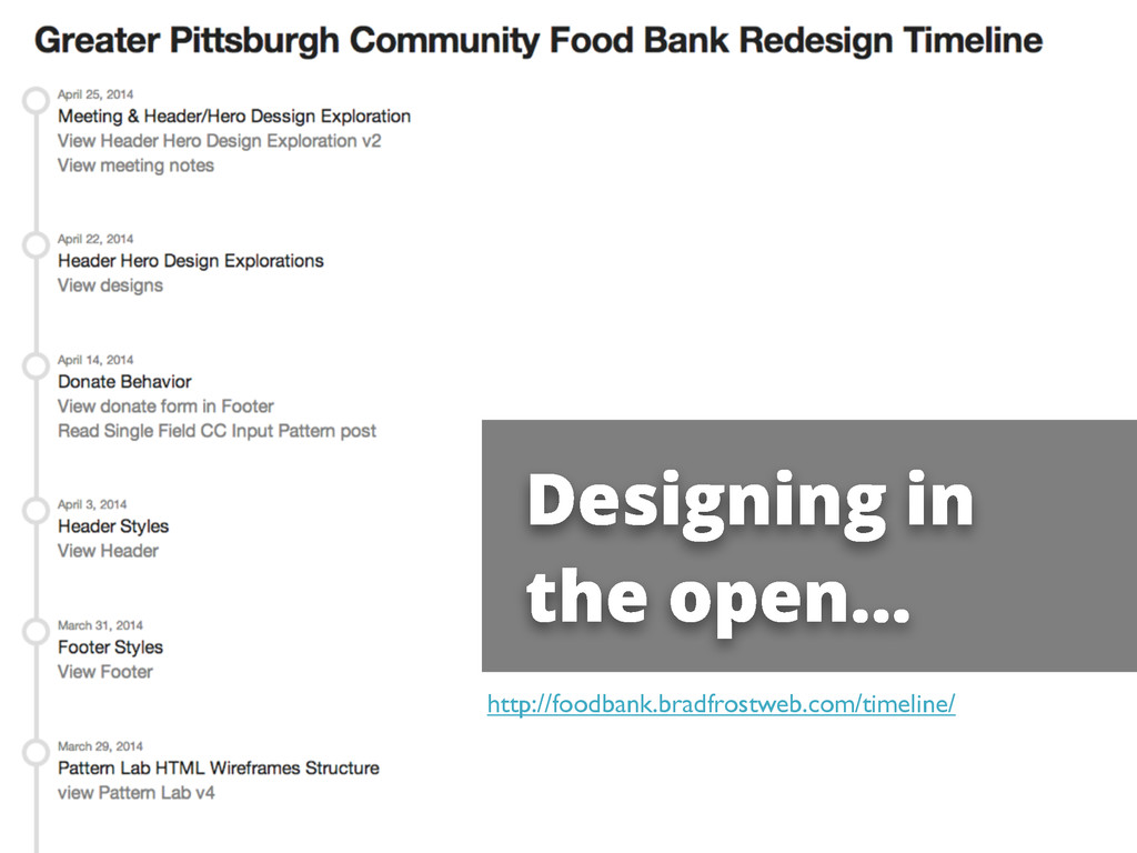 Designing in the open... http://foodbank.bradfr...