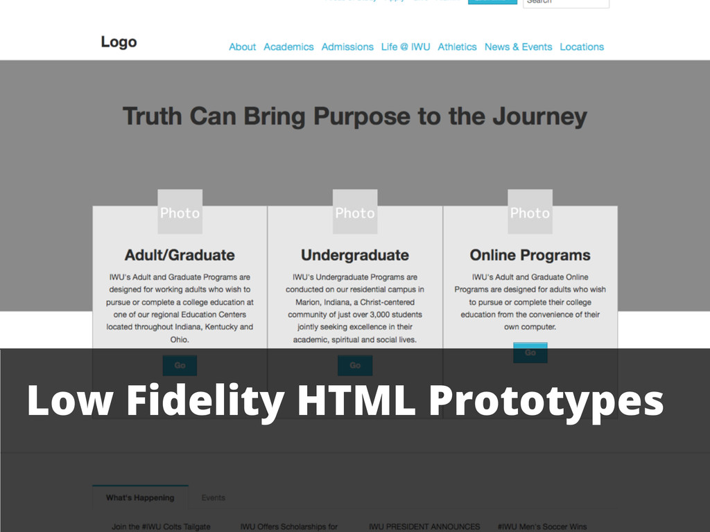 Low Fidelity HTML Prototypes