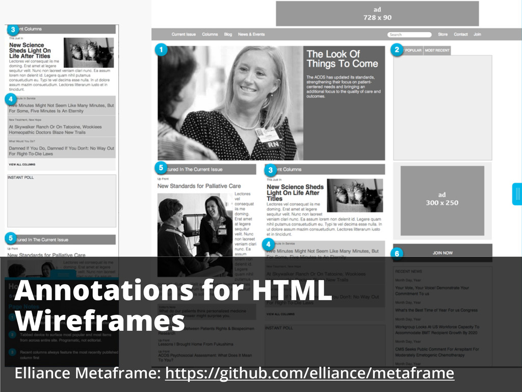 Annotations for HTML Wireframes Elliance Metafr...