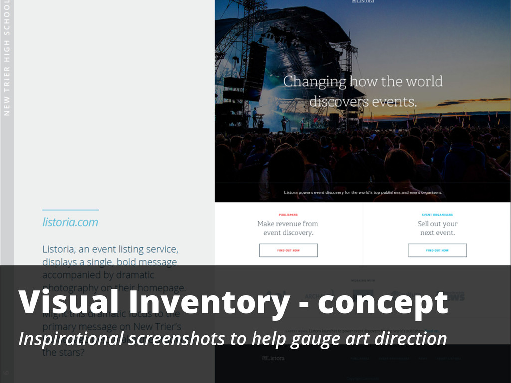 Visual Inventory - concept Inspirational screen...