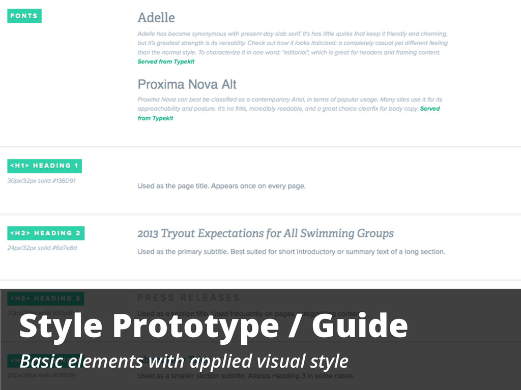 Style Prototype / Guide Basic elements with app...