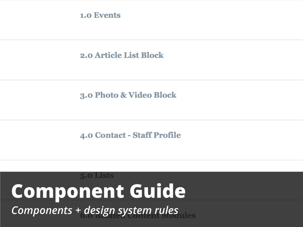 Component Guide Components + design system rules