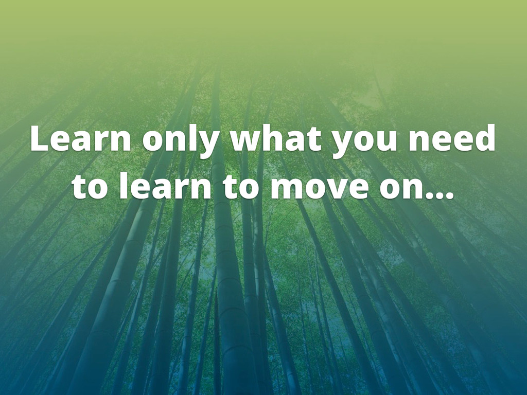 Learn only what you need to learn to move on...