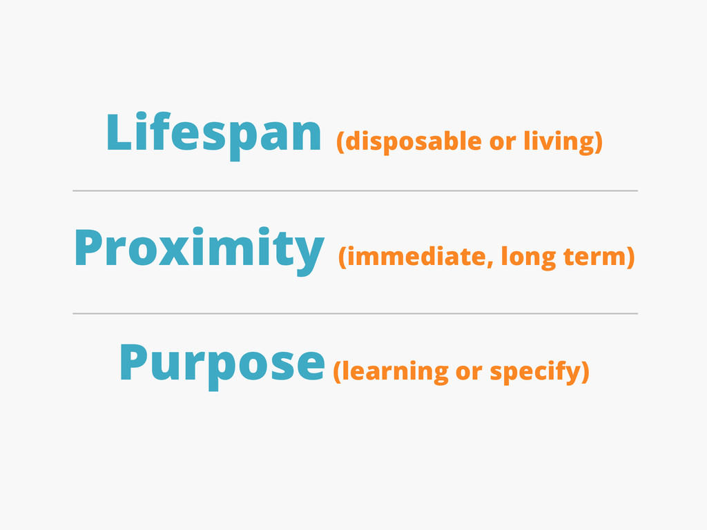 Lifespan (disposable or living) Proximity (imme...