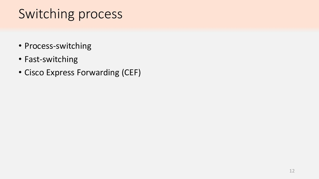 12 • Process-switching • Fast-switching • Cisco...