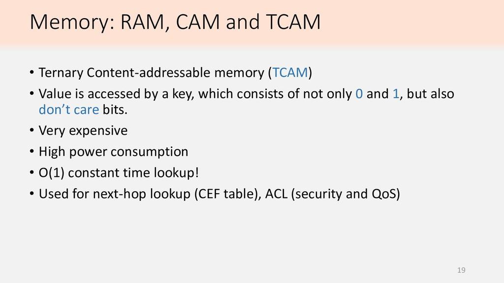 19 • Ternary Content-addressable memory (TCAM) ...