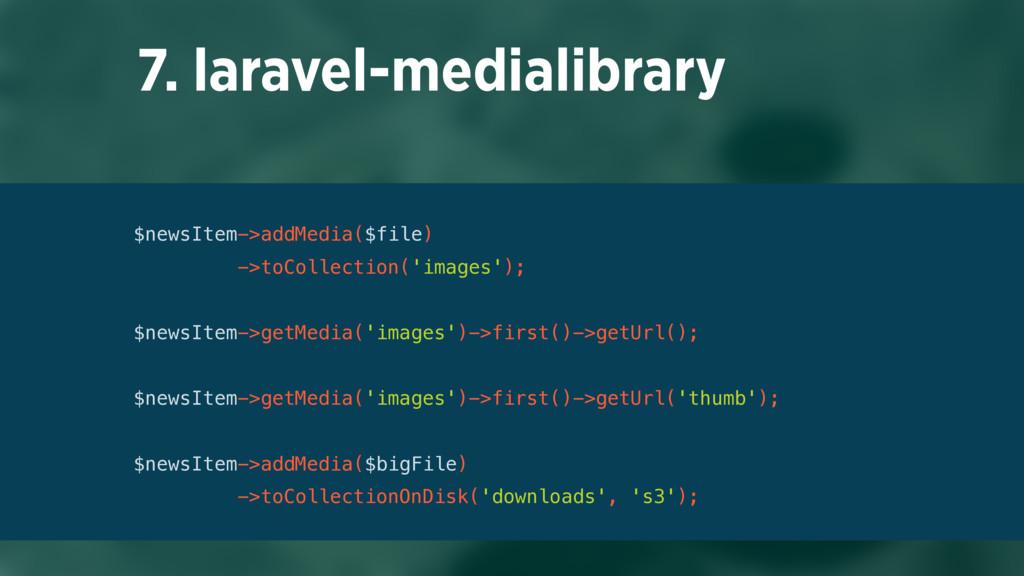 7. laravel-medialibrary $newsItem->addMedia($fi...
