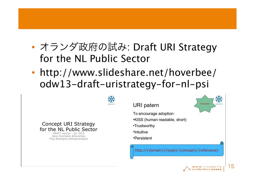 • ΦϥϯμͷࢼΈ: Draft URI Strategy for the NL Pub...
