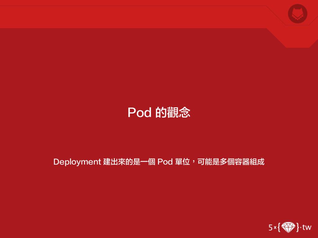 Deployment 建出來的是一個 Pod 單位,可能是多個容器組成 Pod 的觀念