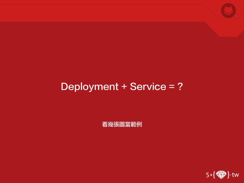 看幾張圖當範例 Deployment + Service = ?