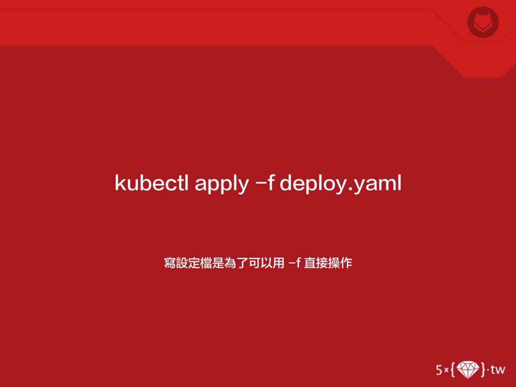 寫設定檔是為了可以用 -f 直接操作 kubectl apply -f deploy.yaml