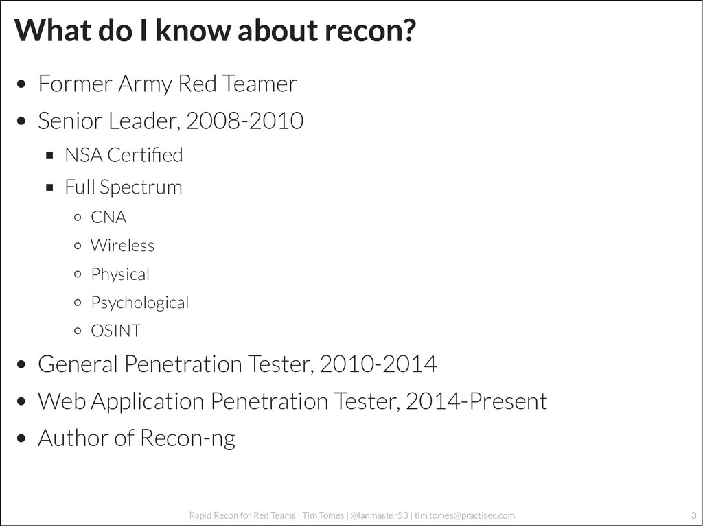 3 Rapid Recon for Red Teams | Tim Tomes | @lanm...