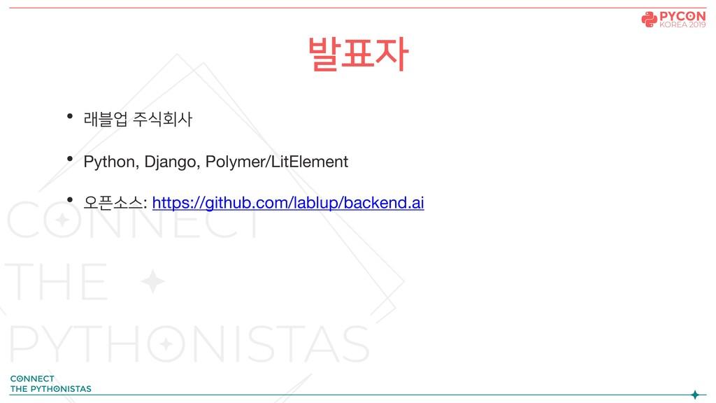 • 래블업 주식회사 • Python, Django, Polymer/LitElement...
