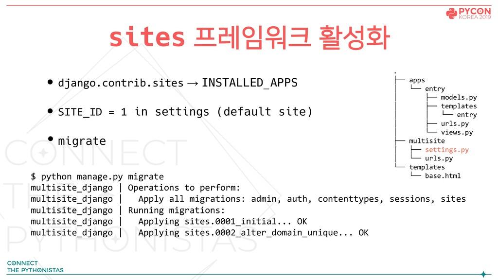 • django.contrib.sites → INSTALLED_APPS • SITE_...