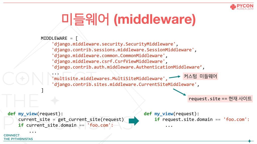 미들웨어 (middleware) MIDDLEWARE = [ 'django.middle...