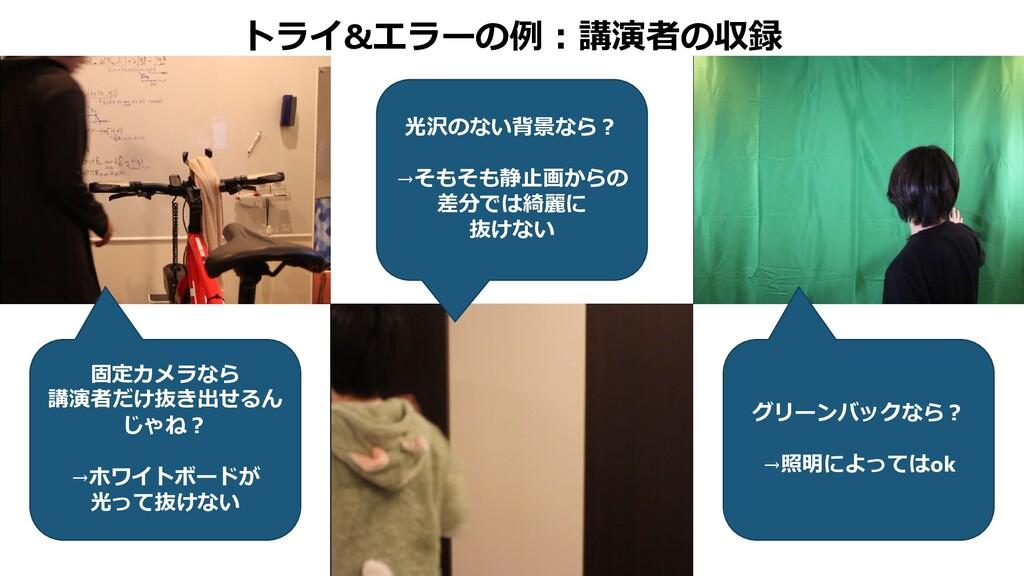 トライ&エラーの例:講演者の収録 固定カメラなら 講演者だけ抜き出せるん じゃね? →ホワイト...