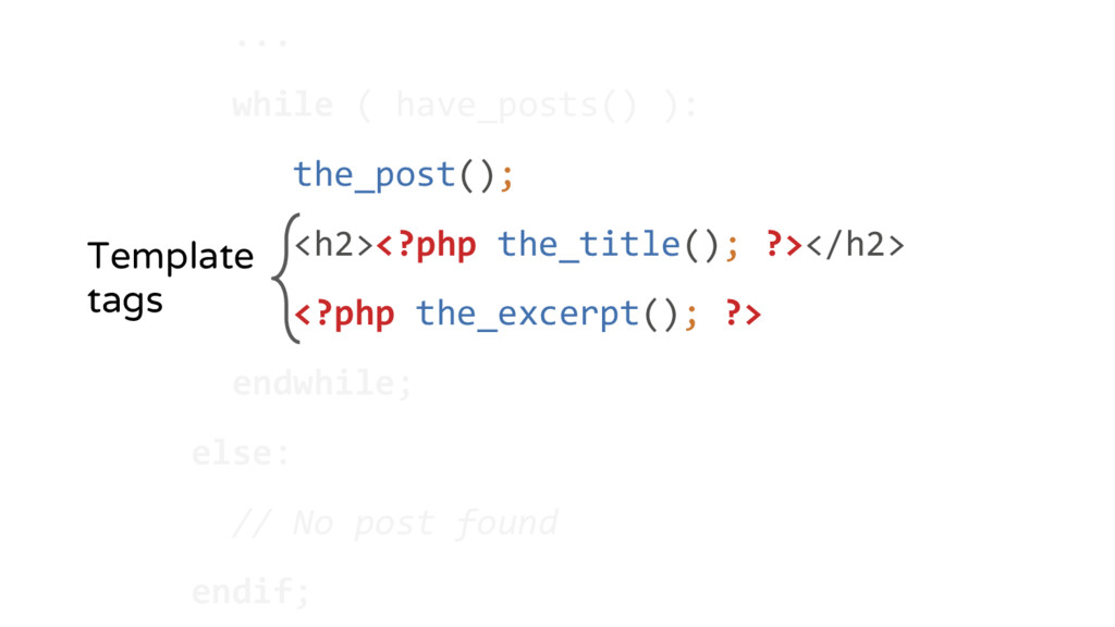 ... while ( have_posts() ): the_post(); <h2><?p...