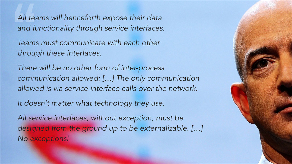 """"""" All teams will henceforth expose their data ..."""