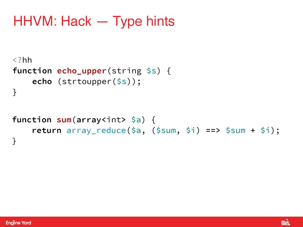 HHVM: Hack — Type hints <?hh function echo_uppe...