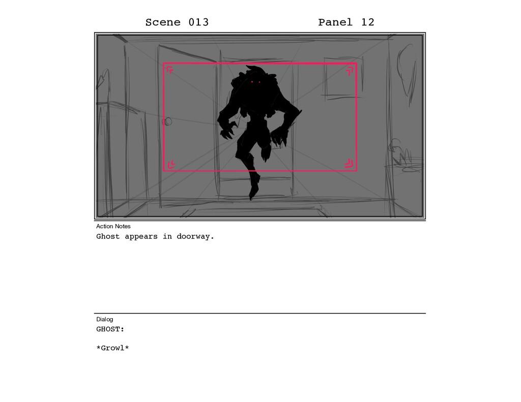 Ghost appears in doorway. GHOST: *Growl* Scene ...