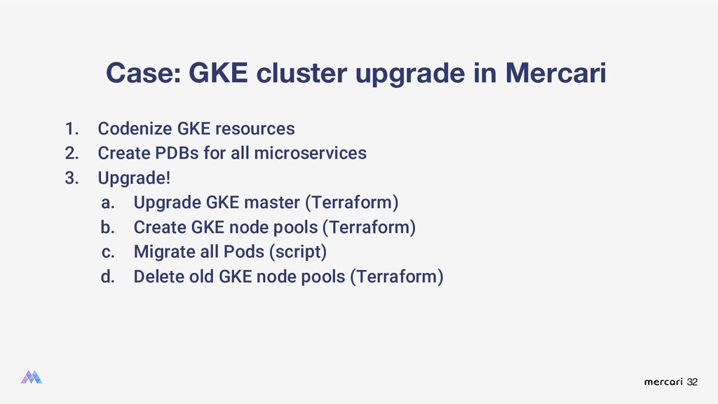 32 Case: GKE cluster upgrade in Mercari 1. Code...