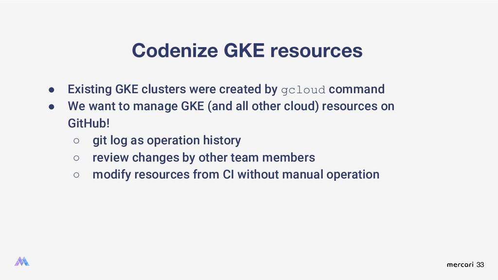 33 Codenize GKE resources ● Existing GKE cluste...