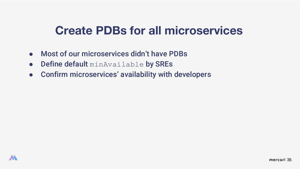 35 Create PDBs for all microservices ● Most of ...